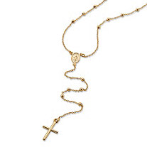 SETA JEWELRY Beaded Rosary Cross Necklace in 14k Yellow Gold 24