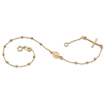 "Beaded Rosary Cross Bracelet in 14k Yellow Gold 6.5"" at PalmBeach Jewelry"