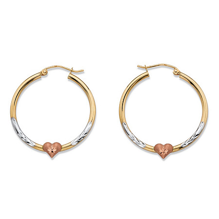 Diamond-Cut Heart Hoop Earrings in Tri-Tone Yellow, White and Rose 10k Gold (1.25