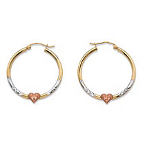 "Diamond-Cut Heart Hoop Earrings in Tri-Tone Yellow, White and Rose 10k Gold (1.25"")"