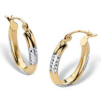 "Diamond-Cut Hoop Earrings in Two-Tone Solid Yellow and White 14k Gold (.75"")"