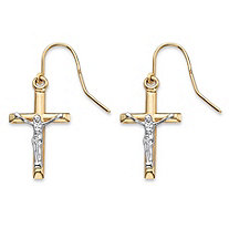 "Crucifix Drop Earrings in Two-Tone Yellow and White 10k Gold (.75"")"