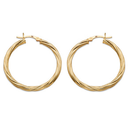 Twisted Hoop Earrings in Gold Tone over Sterling Silver 1 1/3