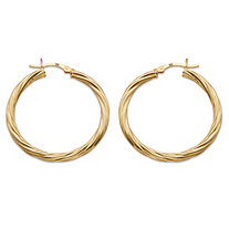 Twisted Hoop Earrings in Gold Tone over Sterling Silver 1 1/3""