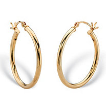 Polished Tubular Hoop Earrings in Gold Tone over Sterling Silver 1""