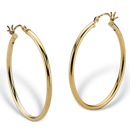 Polished Tubular Hoop Earrings in Gold Tone over Sterling Silver 1 3/8