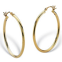 Polished Tubular Hoop Earrings in Gold Tone over Sterling Silver 1 3/8""