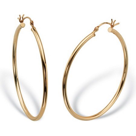 Polished Tubular Hoop Earrings in Gold Tone over Sterling Silver 1 5/8