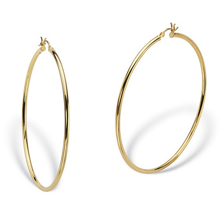 Polished Tubular Hoop Earrings in Gold Tone over Sterling Silver 2 1/3