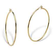 Polished Tubular Hoop Earrings in Gold Tone over Sterling Silver 2 1/3""