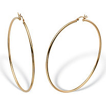 "Polished Tubular Hoop Earrings in Gold Tone over Sterling Silver (2 3/4"")"