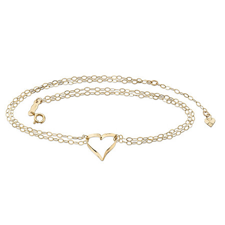 "Rolo-Link Double Strand Heart Charm Ankle Bracelet in Solid 14k Yellow Gold 9"" - 10"" at PalmBeach Jewelry"