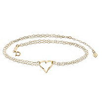 Rolo-Link Double Strand Heart Charm Ankle Bracelet in Solid 14k Yellow Gold 9""