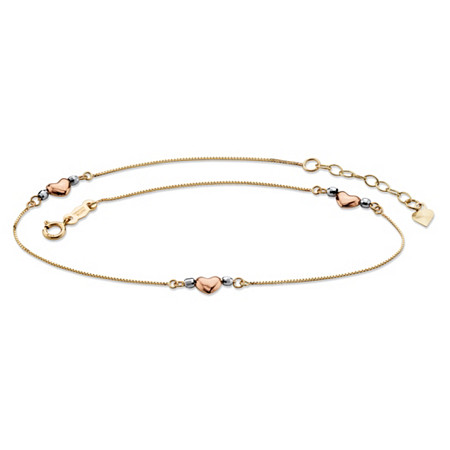 Beaded Puffed Heart Charm Ankle Bracelet in Tri-Tone Yellow, Rose and White 14k Gold 9