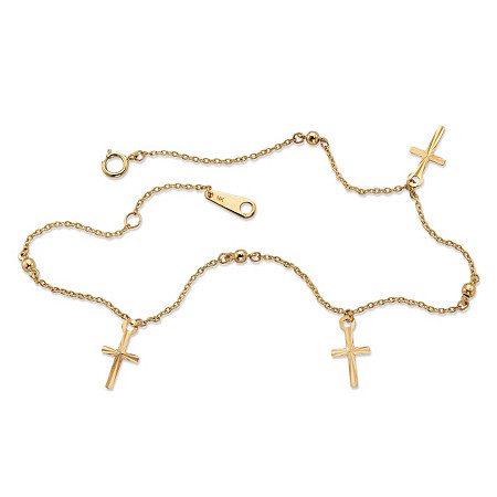 Diamond-Cut Cross Charm and Beaded Ankle Bracelet in Solid 14k Yellow Gold 9