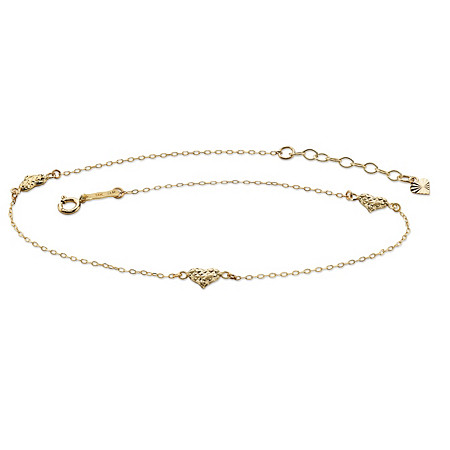 Diamond-Cut Puffed Hearts Ankle Bracelet in Solid 14k Yellow Gold 9
