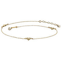 Diamond-Cut Puffed Hearts Ankle Bracelet in Solid 14k Yellow Gold 9""