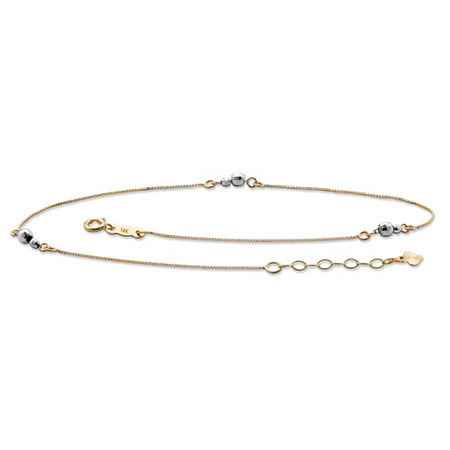 Mirror Bead Ankle Bracelet in Two-Tone Solid Yellow and White 14k Gold 9