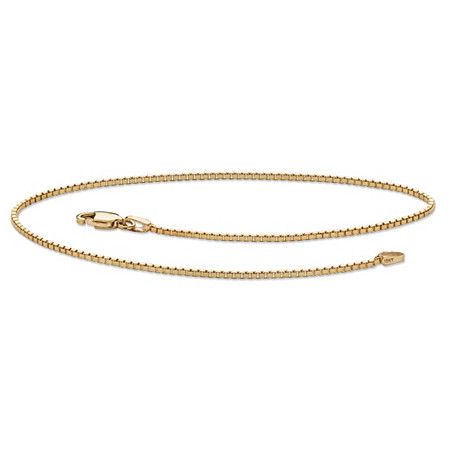 Box-Link Ankle Bracelet in Solid 10k Yellow Gold 9