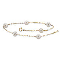 "Genuine Freshwater Cultured Pearl Ankle Bracelet in Solid 14k Yellow Gold 9"" (6mm)"