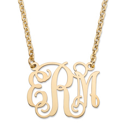Personalized Monogrammed Initial Necklace in Gold Tone over Sterling Silver 24