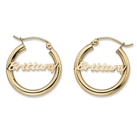 "Polished Tubular Personalized Hoop Earrings in 10k Yellow Gold (3/4"") at PalmBeach Jewelry"