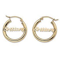 Polished Tubular Personalized Hoop Earrings in 10k Yellow Gold .75""