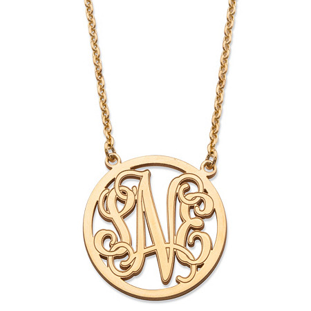 Personalized Monogrammed Initial Necklace in Solid 10k Yellow Gold 18