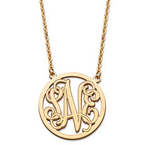 SETA JEWELRY Personalized Monogrammed Initial Necklace in Solid 10k Yellow Gold 18