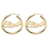 Diamond-Cut Tubular Personalized Hoop Earrings in 10k Yellow Gold 1 1/8""