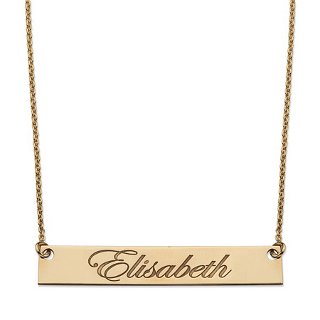 Personalized Name Bar Necklace in 14k Gold over Sterling Silver 18