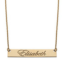 Personalized Name Bar Necklace in 14k Gold over Sterling Silver 18""