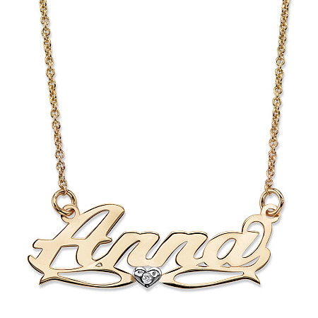 Personalized Diamond Accent Nameplate Necklace in Two-Tone Solid 10k Yellow and White Gold 18