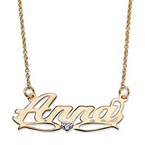 Personalized Diamond Accent Nameplate Necklace in Two-Tone Solid 10k Yellow and White Gold 18""