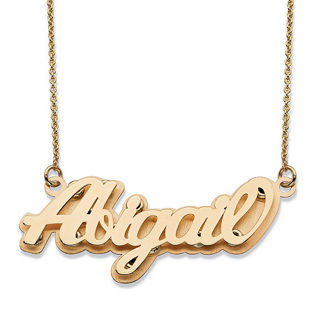Polished Personalized Nameplate Necklace in Solid 10k Yellow Gold 18