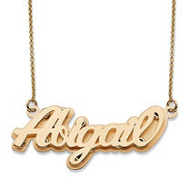 Polished Personalized Nameplate Necklace in Solid 10k Yellow Gold 18""