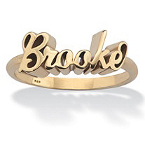 SETA JEWELRY Polished Personalized Name Ring in Gold Tone over Sterling Silver