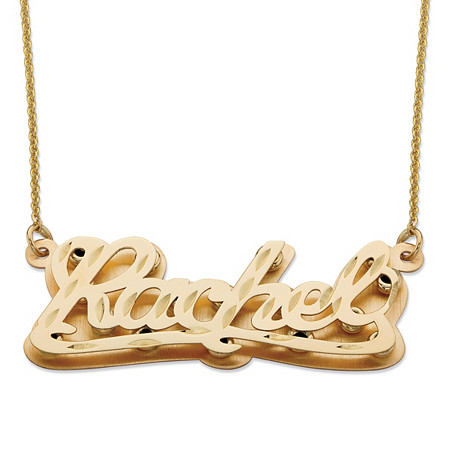 Diamond-Cut Personalized Nameplate Pendant in Solid 10k Yellow Gold at PalmBeach Jewelry