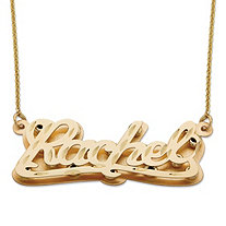 SETA JEWELRY Diamond-Cut Personalized Nameplate Pendant in Solid 10k Yellow Gold