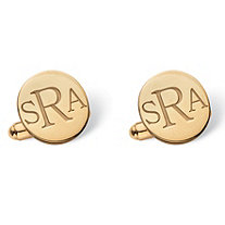Men's Round Personalized Monogrammed Initial Cuff Links in 14k Gold over Sterling Silver