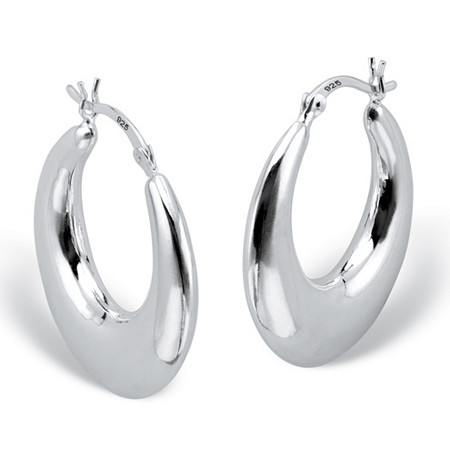 Polished Round Puffed Hoop Earrings in Sterling Silver (1