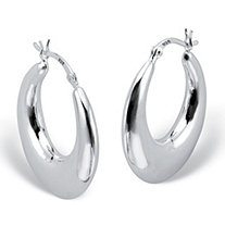 "Polished Round Puffed Hoop Earrings in Sterling Silver (1"")"