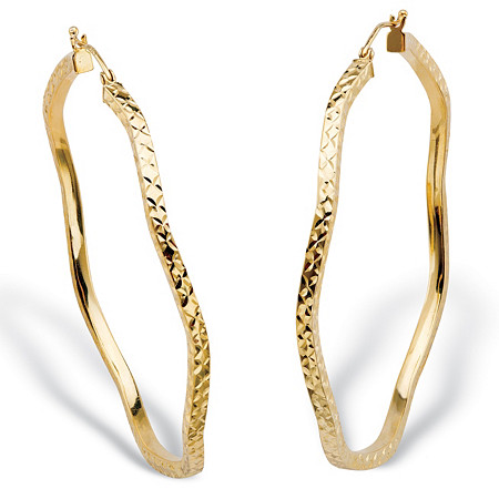 Diamond-Cut Textured Hoop Earrings in 18k Yellow Gold Over Sterling Silver (2