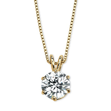 "Round Cubic Zirconia Solitaire Pendant Necklace 3 TCW 14k Gold-Plated 18"" at PalmBeach Jewelry"