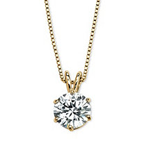 Round Cubic Zirconia Solitaire Pendant Necklace 3 TCW 14k Gold-Plated 18""