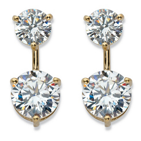 Round Cubic Zirconia 2-in-1 Stud and Drop Earrings 5.96 TCW in 14k Gold over Sterling Silver at PalmBeach Jewelry