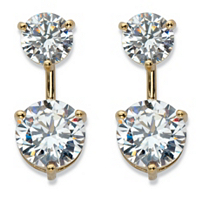 Round Cubic Zirconia 2-In-1 Stud And Drop Earrings In 14k Gold Over Sterling Silver ONLY $19.99