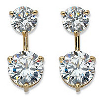 Round Cubic Zirconia 2-in-1 Stud and Drop Earrings 5.96 TCW in 14k Gold over Sterling Silver