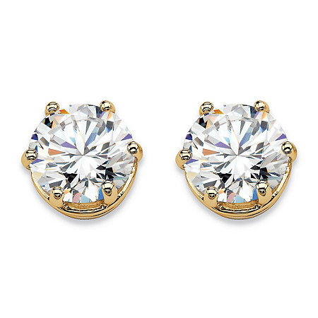 Round Cubic Zirconia Solitaire Stud Earrings 4 TCW in 14k Gold over Sterling Silver at PalmBeach Jewelry