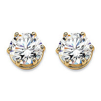 Round Cubic Zirconia Solitaire Stud Earrings 4 TCW in 14k Gold over Sterling Silver